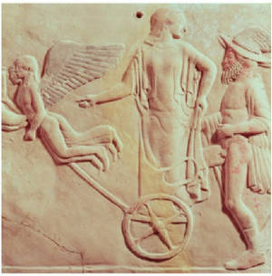 Eros and Psyche Leading the Way for Aphrodite and Hermes