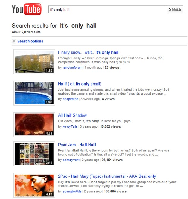 It's only hail search results